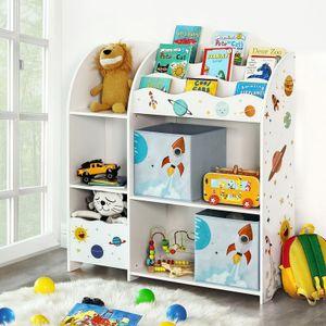 SONGMICS Kinderregal mit 2 Boxen | Spielzeug-Organizer | Bücherregal für Kinder multifunktionale Ablage weiß GKR42WT