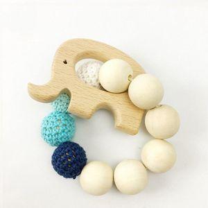 2 Stücke Holz Natürliche Kauen Spielzeug Holz  Elefanten Anhänger Baby Kinderkrankheiten Spielzeug