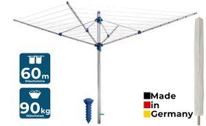 Blome Wäschespinne Idea 60 Meter blau Eindrehhülse Schutzhülle