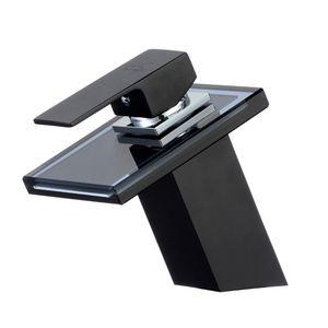 Glas Wasserfall Waschtischarmatur schwarz | Bad Wasserhahn Armatur Waschbecken