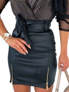 Damen Kunstlederrock Hohe Taille Reißverschluss Schnürung Hüftkleid,Farbe: Schwarz,Größe:M