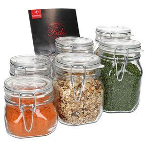 6-tlg. Set Drahtbügelglas Fido 0,5L + 0,75L + 1,0L Einmachglas mit Bügelverschluss Vorratsglas