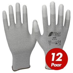 NITRAS ESD-Handschuhe 6230T, antistatisch, touchscreenfähig, teilbeschichtet auf Fingerkuppen - 12 Paar Größe:7