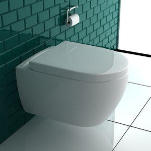 Alpenberger Spülrandloses Hänge-Dusch -WC mit integrierter Bidet-Taharet Funktion + Abnehmbarer WC-Sitz D-Form inkl. Soft-Close-Funktion | inkl. WC und Sitz Anschluss-Set | 2 in 1 Bidet und WC