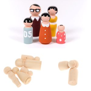 50 Nautural Holzpflock Puppen Unifinished Peg People Familie Von 5