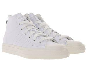 adidas Originals Nizza Hi RF High-Top-Sneaker lässige Damen Basketball-Schuhe mit Echtleder-Anteil Weiß, Größe:36