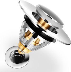 1×Haarfangsieb Abflusssiebe Abflussstopfen Anti-Verstopfen mit Filterkorb für 1,34  1,4 '' Abflusslöcher Edelstahl Bounce Bullet-Senkstopfen