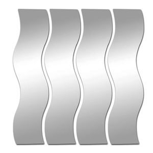 4er Spiegelfliesen Wellenform je 60x18,5cm