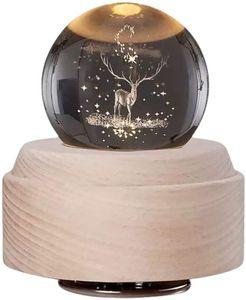 Musikalische Weihnachts-Schneekugel mit Wirbelndem Glitzer Rudolph Rentier Kristallkugel mit Holzständer Führte Lampe Nachtlicht Wohnkultur Ornament Jubiläum