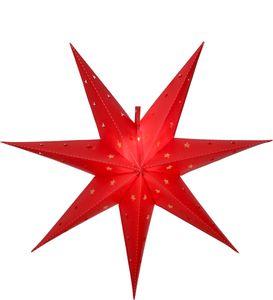 LED Outdoor Stern 'Alice' - hängend - 7-zackig - 12 warmweiße LED - D: 60cm - Batterie - Timer - rot