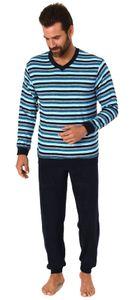 Toller Herren Frottee Pyjama langarm Schlafanzug mit Bündchen - 291 101 13 704, Farbe:blau, Größe:54