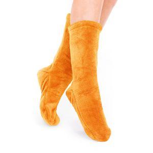 Socken Kuschelsocken Flauschsocken One Size Wintersocken Einheitsgröße Orange