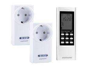 SmartHome 2x Funksteckdosen SET mit Fernbedienung - Digitale Zeitschaltuhr Timer