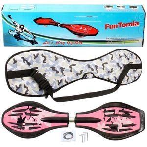 FunTomia® mit LED-Rollen  - 1750 - Design pink Blume - Waveboard ORIGINAL