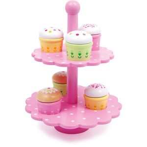 Small Foot 3309 Etagere Muffins aus Holz, mit bunten Mustern, rosa, 13-teilig (1 Set)