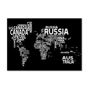 Tulup® Leinwandbild - 100x70 cm - Wandkunst - Drucke auf Leinwand - Leinwanddruck  - Landkarten & Flaggen - Schwarzweiß - Weltkarte