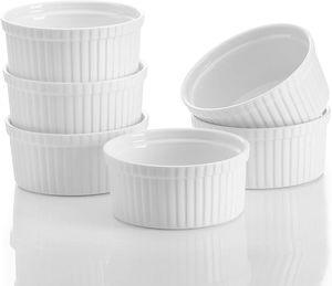 MALACASA, Serie Ramekin.Dish, 6 tlg. Set, Mini Souffléförmchen Porzellan Backförmchen 310 ml