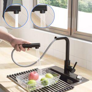 Ausziehbar Küche Wasserhahn Mischbatterie, Küchenarmatur mit Brause Zwei Wasserstrahlarten, Spültischarmatur, geeignet nicht Untertischgerät, Schwarz