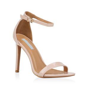 Mytrendshoe Damen Sandaletten Riemchensandaletten High Heels Sommer Schuhe 821192, Farbe: Nude, Größe: 38