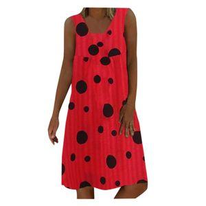 Frauen Plus Size Wave Point Print Täglich lässig ärmelloses Vintage böhmisches Kleid Größe:XL,Farbe:Rot