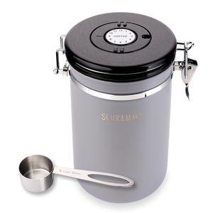 Schramm® Kaffeedose 1800 ml in 10 Farben mit Dosierlöffel Höhe: 19cm Kaffeedosen Kaffeebehälter aus Edelstahl , Farbe:grau