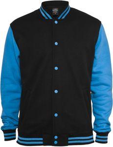 Urban Classics Kids 2-tone College Sweatjacket, Farbe:blk/tur, Größe:12