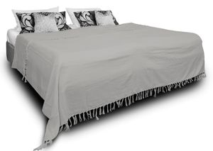 Tagesdecke Bettüberwurf 180x220 cm grau Bettdecke Doppelbett Sofa Baumwolle
