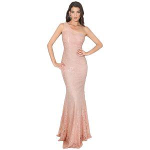Krisp Damen Abendkleid mit asymmetrischem Ausschnitt, Meerjungfrauenform KP232 (40 DE) (Pink)