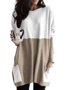 Plus Size Frauen Casual Rundhalsausschnitt Langarm Tasche Farbblock Sweatshirt Tuniken Bluse Tops,Farbe: Khaki,Größe:M