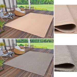 In- und Outdoor Teppiche Flachgewebe Terrassen Natur Look In Grau & Beige, Farbe:Grau, Maße:200x280 cm