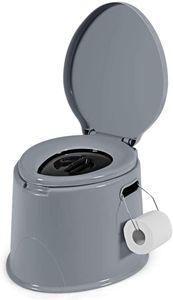 COSTWAY Campingtoilette tragbar, Reisetoilette grau, Mobile Toilette mit abnehmbarem Eimereinsatz, mit Toilettenpapierhalter, für Camping, Wandern und Reisen