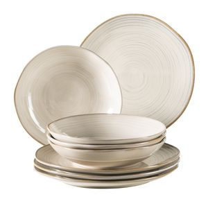 Mäser 931371 Nottingham Vintage Tafel-Service für 4 Personen mit Speiseteller und Suppenteller im Retro-Look, Steinzeug, beige, 8-teilig (1 Set)