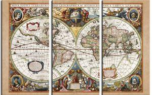 Historische Landkarten Poster Leinwandbild Auf Keilrahmen - Weltkarte, Nova Totius Terrarum, 1630, 3-Teilig (120 x 180 cm)