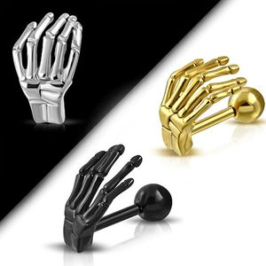 Tragus Helix Ohr Piercing Skeletthand, Farbe:Gold