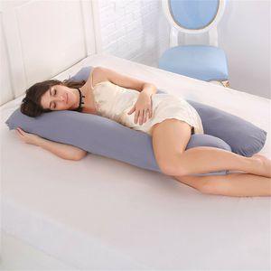 Topchances U-förmiges Schwangerschaftskissen, Seitenschläferkissen, 100% Baumwolle Schwangerschaft Mutterschaft Körper zurück Unterstützung Kissen  (130 x 70 cm, Grau)