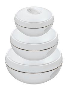 3/6tlg. KING® Thermobehälterset Venus deluxe / Farbe: Weiß mit Goldrand / mit 3 Behälter 600ml, 1000ml &1500ml