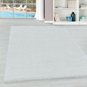 Teppium Hochflor Teppich, Wohnzimmerteppich, Unifarben Shaggy, Rechteckig, Farbe:WEISS,80 cm x 150 cm
