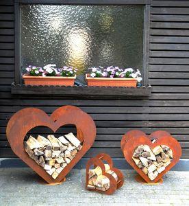 Herz aus Metall - Holz-Regal - Edel-Rost - Garten Terrasse - Deko - SET