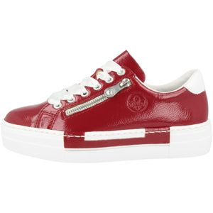 Rieker N49C2 Damen Schuhe Halbschuhe Plateau Schnürschuhe, Größe:38 EU, Farbe:Rot