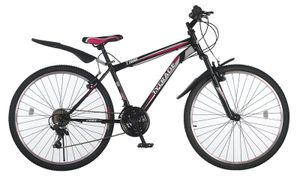 26 Zoll Kinder Damen Mädchen Fahrrad Damenfahrrad Mädchenfahrrad Mountainbike Kinderfahrrad MTB Rad Bike Gabelfederung Federgabel 21 Gang Shimano TIGER Schwarz Pink