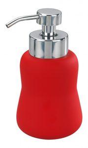 WENKO Schaumspender - Favara rot - Keramik mit Soft-Touch Beschichtung - Spender für Seife - Flüssigseife Dispenser - Seifenschaumspender