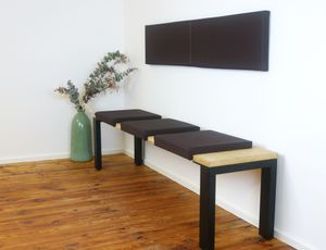 Klemmkissen Sitzkissen 1 Leiste 35cm Klemmtiefe Kunstleder verschiedenen Farben ca. B 40cm x T 35cm / 38cm x H 6cm, Farbe:braun
