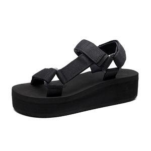 Flatform Universal Wedge Sandalen mit offener Schnalle für Damen