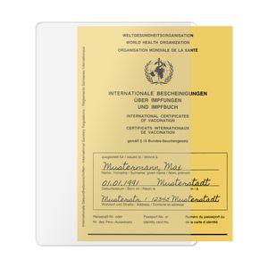 Hülle für Impfpass Impfausweis (144x108mm bzw. 148x105mm, bis ca. 2008) - seitliche Öffnung für praktischen Quereinschub - transparent - Impfpasshülle Impfausweishülle Klarsichthülle Schutzhülle