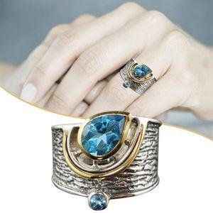 Fashion Two Tone 925 Silberringe fš¹r Damen Schmuck Aquamarin Ring Gr??e 6-10