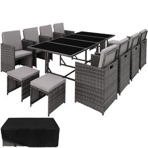 tectake Rattan Sitzgruppe Palma 8+4+1 mit Schutzhülle - grau