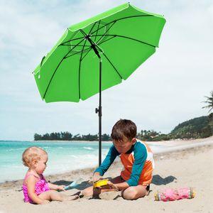SONGMICS Sonnenschirm, 200 cm, Sonnenschutz, achteckiger Strandschirm aus Polyester, Schirmrippen aus Glasfaser, knickbar, mit Tragetasche Grün GPU65GNV1