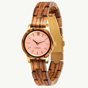 LAiMER Damen Quarz Armband-Uhr aus Zebrano-Holz mit Holz Band - 0160 Nora