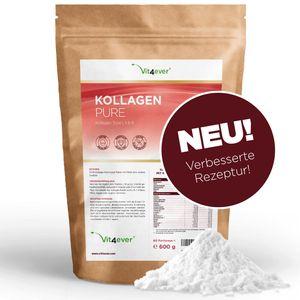 Vit4ever® Kollagen Pulver - 600 g - Einführungspreis - Collagen Hydrolysat ohne Zusätze - Labor - Geschmacksneutral - Eiweiß-Pulver – Kollagen Peptide Typ 1 2 3 - Protein Lift Drink