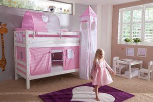 Relita Etagenbett BENI Buche massiv weiß lackiert mit Textilset rosa/weiß/herz